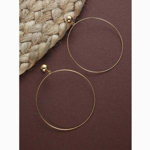 Thin Dainty Gold Stud Drop Hoop Statement Earrings